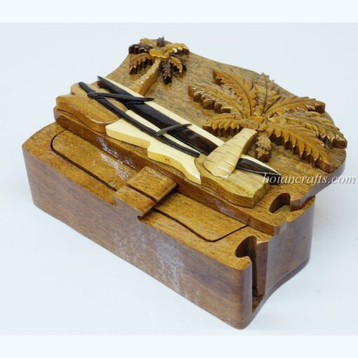Intarsia wooden puzzle boxes 7a
