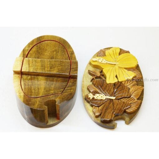 Intarsia wooden puzzle boxes 40b