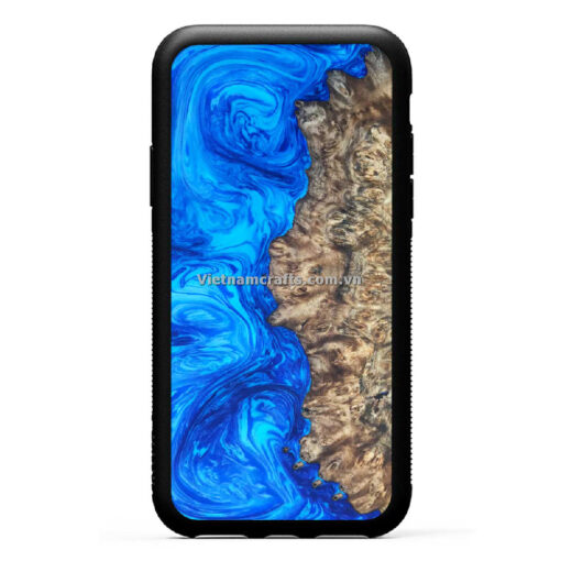 Wholesale Vietnam Handmade Wooden Resin Phone Case Cover -Abstract Blue