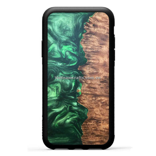 Wholesale Vietnam Handmade Wooden Resin Phone Case Cover - Abstract Green