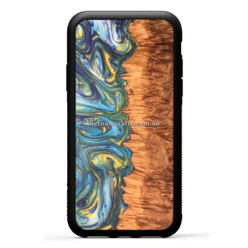 Wholesale Vietnam Handmade Wooden Resin Phone Case Cover The Soul Epoxy Mix Burl Wood copy
