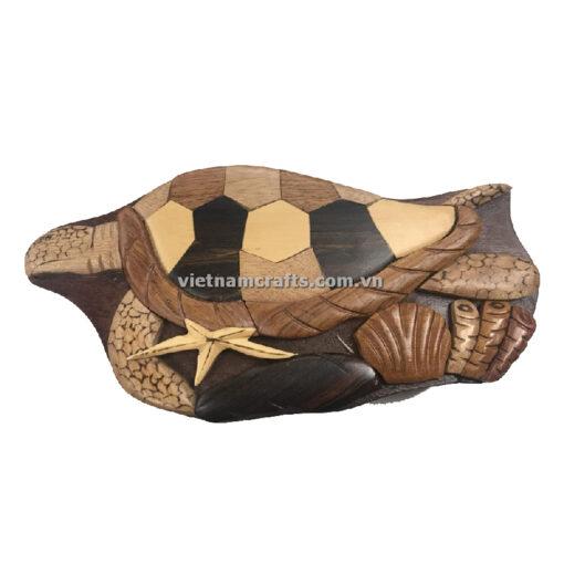 Wholesale Intarsia wooden puzzle box Sea Turtle