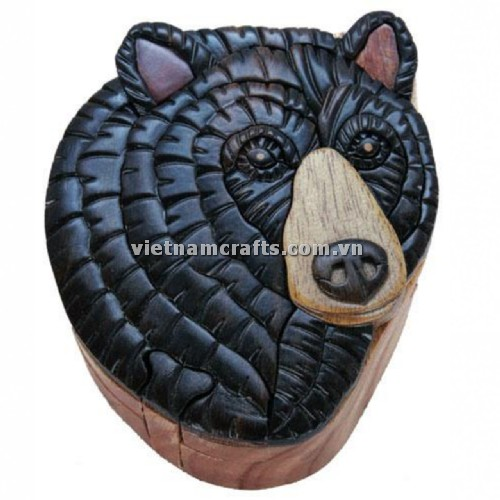 Intarsia wood art wholesale Secret Wooden puzzle box manufacture Handcrafted wooden supplier made in Vietnam Black Bear Puzzle Box