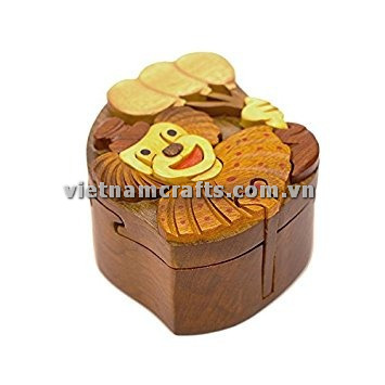 Intarsia wood art wholesale Secret Wooden puzzle box manufacture Handcrafted wooden supplier made in Vietnam Clown Puzzle Box (1)