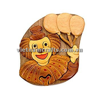 Intarsia wood art wholesale Secret Wooden puzzle box manufacture Handcrafted wooden supplier made in Vietnam Clown Puzzle Box (3)
