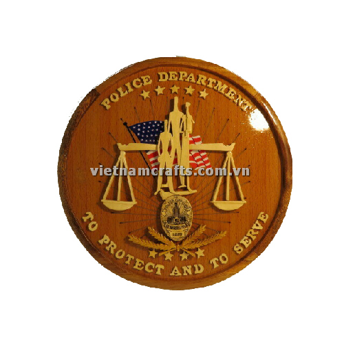 Intarsia wood art wholesale Secret Wooden puzzle box manufacture Handcrafted wooden supplier made in Vietnam HANDCRAFTED UNIVERSAL POLICE LOGOS