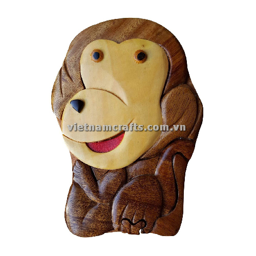 Intarsia wood art wholesale Secret Wooden puzzle box manufacture Handcrafted wooden supplier made in Vietnam Monkey Puzzle Box