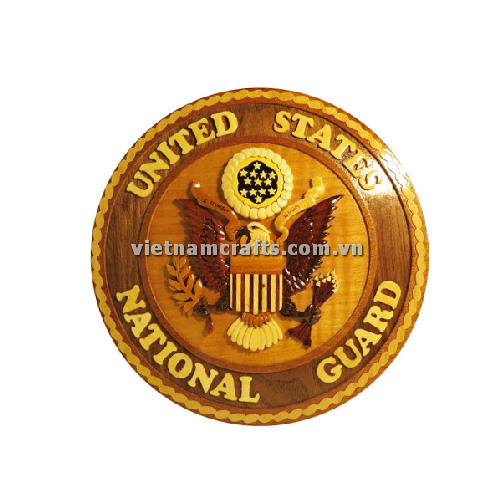Intarsia wood art wholesale Secret Wooden puzzle box manufacture Handcrafted wooden supplier made in Vietnam NATIONAL GUARD LOGOS