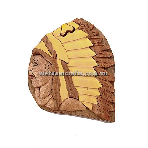 Intarsia wood art wholesale Secret Wooden puzzle box manufacture Handcrafted wooden supplier made in Vietnam Native America Indian Chief Puzzle Box (1)