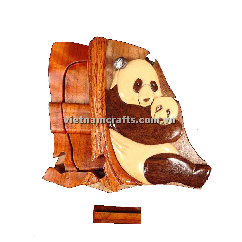 Intarsia wood art wholesale Secret Wooden puzzle box manufacture Handcrafted wooden supplier made in Vietnam Panda 2 Puzzle Box (1)