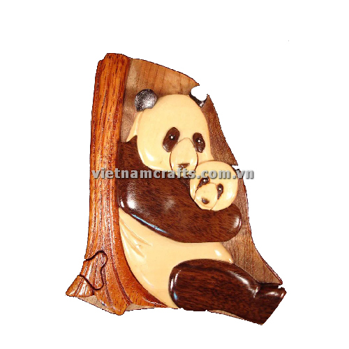 Intarsia wood art wholesale Secret Wooden puzzle box manufacture Handcrafted wooden supplier made in Vietnam Panda 2 Puzzle Box (2)