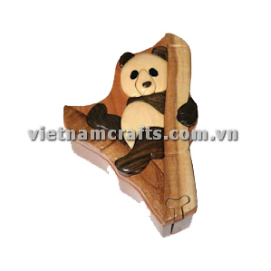 Intarsia wood art wholesale Secret Wooden puzzle box manufacture Handcrafted wooden supplier made in Vietnam Panda Puzzle Box