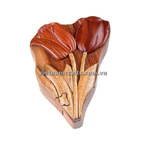 Intarsia wood art wholesale Secret Wooden puzzle box manufacture Handcrafted wooden supplier made in Vietnam a Tulip Puzzle Box