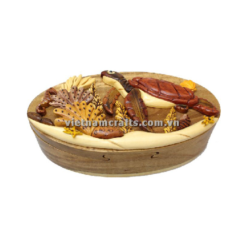 Intarsia wood art wholesale Secret Wooden puzzle box manufacture Handcrafted wooden supplier made in Vietnam a Turtle 3 Puzzle Box
