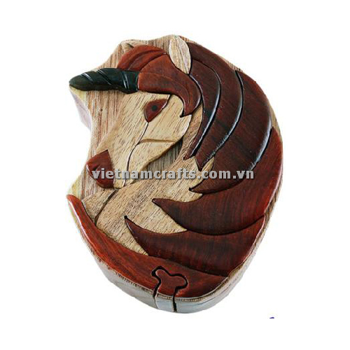 Intarsia wood art wholesale Secret Wooden puzzle box manufacture Handcrafted wooden supplier made in Vietnam a Unicorn Puzzle Box