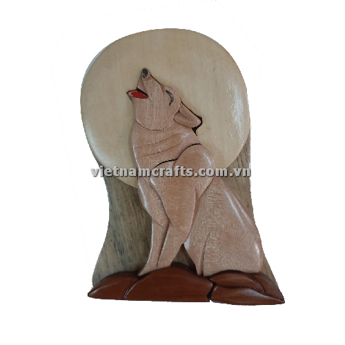 Intarsia wood art wholesale Secret Wooden puzzle box manufacture Handcrafted wooden supplier made in Vietnam a Wolf Puzzle Box
