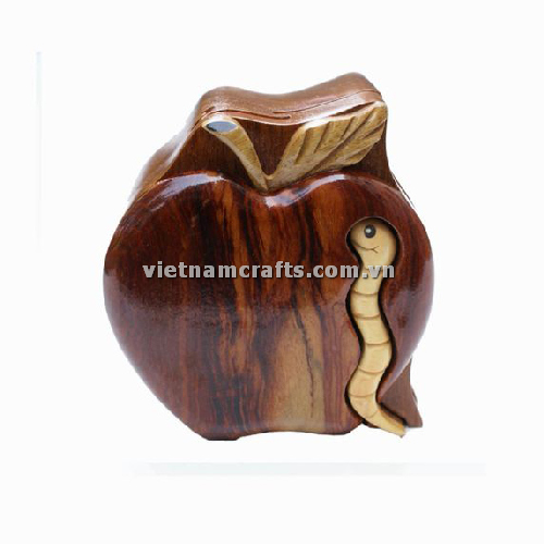 Intarsia wood art wholesale Secret Wooden puzzle box manufacture Handcrafted wooden supplier made in Vietnam a Worm in Apple Puzzle Box