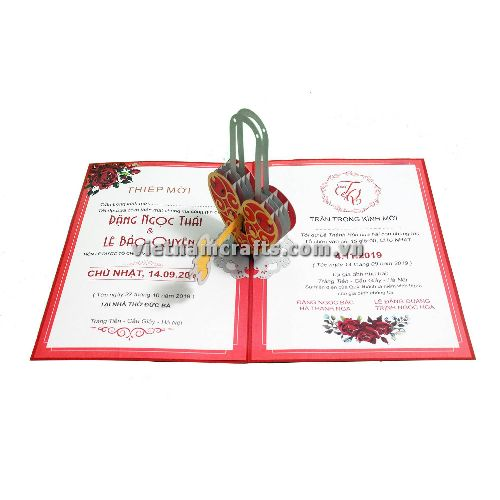 CU26 Buy Custom 3d Pop Up Greeting Cards Congratulations day 3d Foldable Personalized Wedding Pop Up Card (1)