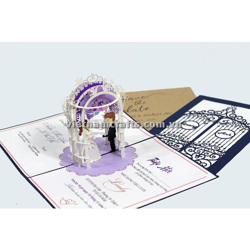 CU30 Buy Custom 3d Pop Up Greeting Cards Congratulations day 3d Foldable Personalized Wedding Pop Up Card (1)