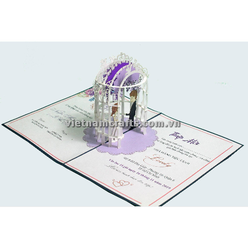 CU30 Buy Custom 3d Pop Up Greeting Cards Congratulations day 3d Foldable Personalized Wedding Pop Up Card (2)