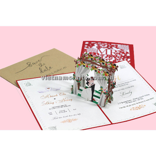 CU35 Buy Custom 3d Pop Up Greeting Cards Congratulations day 3d Foldable Personalized Wedding Pop Up Card (4)