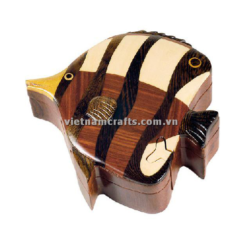 Intarsia wood art wholesale Secret Wooden puzzle box manufacture Handcrafted wooden supplier made in Vietnam Angel Fish
