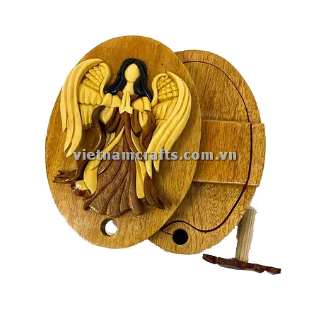 Intarsia wood art wholesale Secret Wooden puzzle box manufacture Handcrafted wooden supplier made in Vietnam Angel Puzzle Box (1)