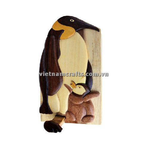 Intarsia wood art wholesale Secret Wooden puzzle box manufacture Handcrafted wooden supplier made in Vietnam Arctic Sea Life Penguin and Baby Hand