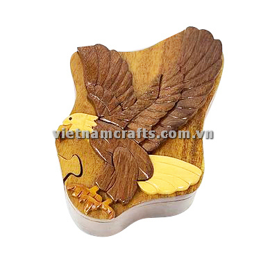 Intarsia wood art wholesale Secret Wooden puzzle box manufacture Handcrafted wooden supplier made in Vietnam Attack Eagle (2)