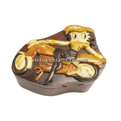 Intarsia wood art wholesale Secret Wooden puzzle box manufacture Handcrafted wooden supplier made in Vietnam BETTY BOOP W BIKE (1)