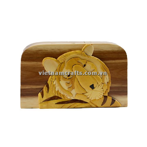 Intarsia wood art wholesale Secret Wooden puzzle box manufacture Handcrafted wooden supplier made in Vietnam Bengal Tiger Jungle Zoo