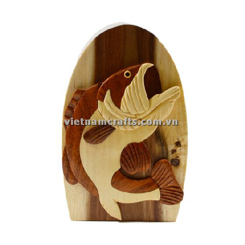 Intarsia wood art wholesale Secret Wooden puzzle box manufacture Handcrafted wooden supplier made in Vietnam Big Catch Bass Fishing Hand