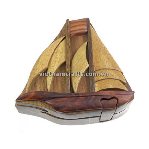Intarsia wood art wholesale Secret Wooden puzzle box manufacture Handcrafted wooden supplier made in Vietnam Boat 1