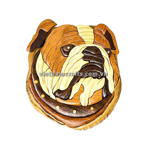 Intarsia wood art wholesale Secret Wooden puzzle box manufacture Handcrafted wooden supplier made in Vietnam Bulldog Puzzle Box (3)