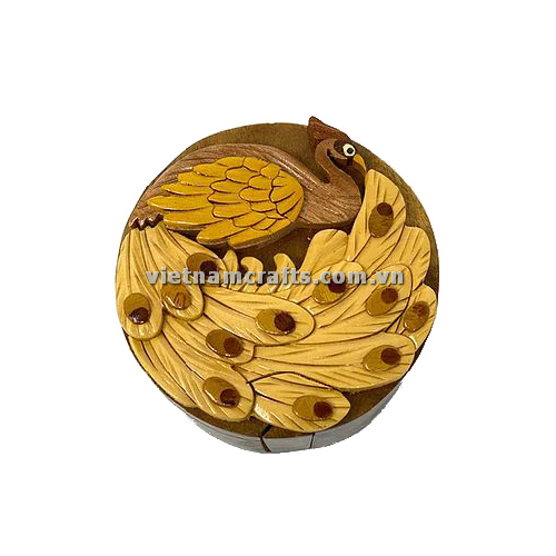 Intarsia wood art wholesale Secret Wooden puzzle box manufacture Handcrafted wooden supplier made in Vietnam a Peacock Puzzle Box